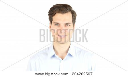 Portrait Of Handsome Man Looking At Camera , Smiling Isolated On White Background