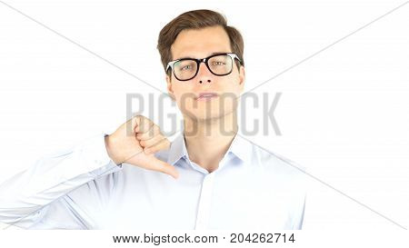 Entrepreneur Angry And Furious Shows Thumbs Down Isolated On White Background