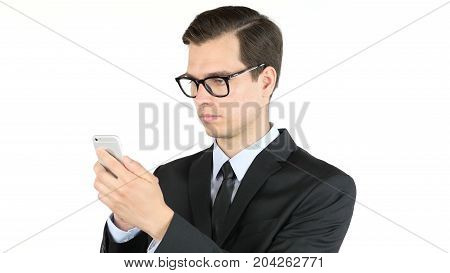 Business Man Or Successful Working On Smart Phone , Internet Browsing , Portrait