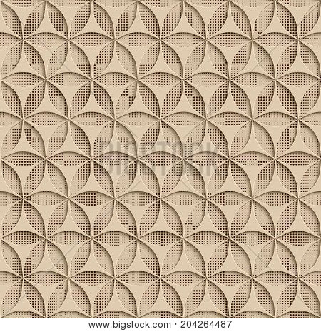 3d Beige Seamless Abstract Geometric Pattern. Beige Tile Surface Black Dots Of Different Sizes On The Bottom Layer. Frame Border Wallpaper. Elegant Repeating Vector Ornament