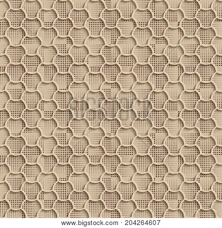 Seamless Web Hexagon Pattern. Beige Tile Surface Black Dots Of Different Sizes On The Bottom Layer. Frame Border Wallpaper. Elegant Repeating Vector Ornament