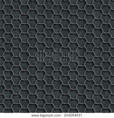 Seamless Web Hexagon Pattern. Gray Tile Surface Black Dots Of Different Sizes On The Bottom Layer. Frame Border Wallpaper. Elegant Repeating Vector Ornament