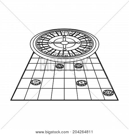 Roulette, single icon in outline style.Roulette, vector symbol stock illustration .