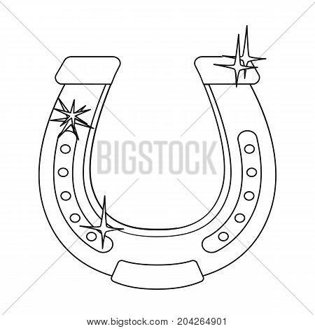 Horseshoe single icon in outline style.Horseshoe vector symbol stock illustration .