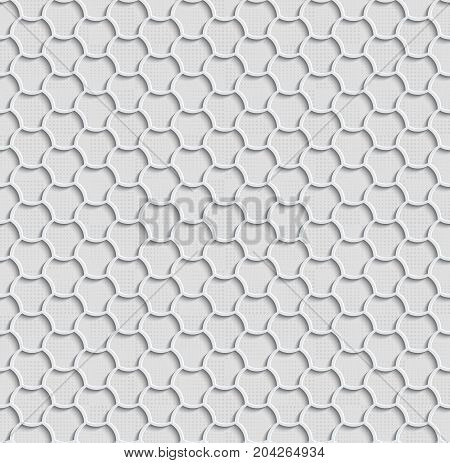 3d Seamless Web Hexagon Pattern. Gray Tile Surface Gray Dots Of Different Sizes On The Bottom Layer. Frame Border Wallpaper. Elegant Repeating Vector Ornament