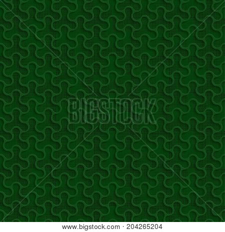 3d Seamless Web Geometric Pattern. Green Background Of Forms Of A Spinner With Black Dots In The Background. Frame Border Wallpaper. Elegant Repeating Vector Ornament
