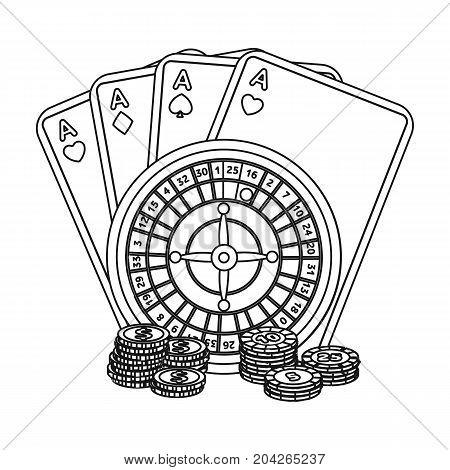 Casino, single icon in outline style.Casino vector symbol stock illustration .