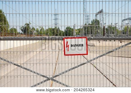 High-voltage station sign of danger high voltage