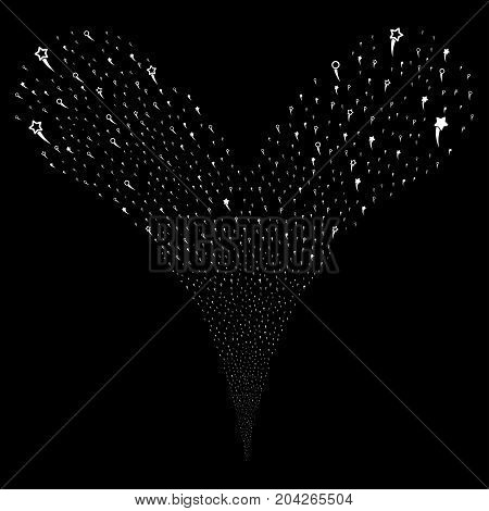 Confetti Stars salute stream. Vector illustration style is flat white iconic confetti stars symbols on a black background. Object fountain combined from random symbols.