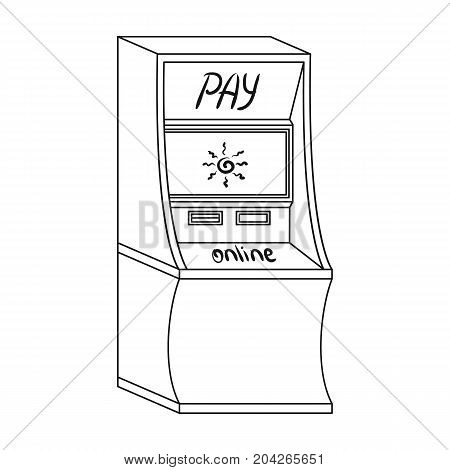 Terminal for various types of payment. Terminals single icon in outline style isometric vector symbol stock illustration .