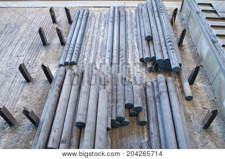 Steel plant steel billets in stock, industrial