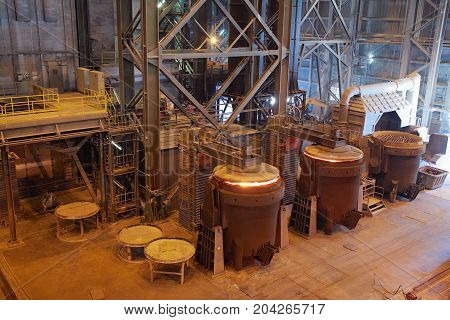 Steelmaking manufacturing plant furnaces for melting steel