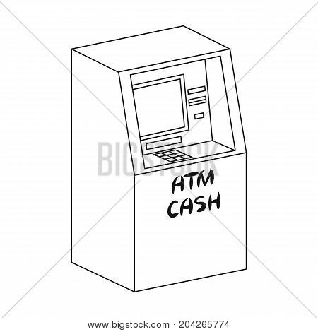 Terminal, ATM for receiving cash. Terminals single icon in outline style isometric vector symbol stock illustration .