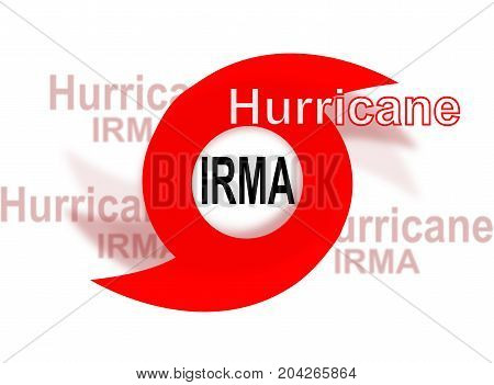 Hurricane Irma, red icon on white background