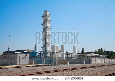 Technical gas plant chemical industry, industrial landscape