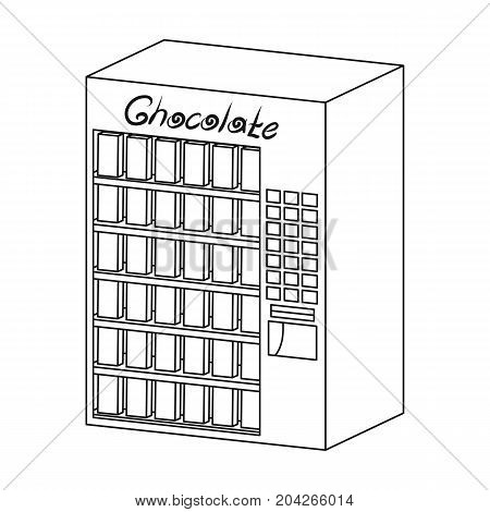 A terminal with different kinds of chocolate. Terminals single icon in outline style isometric vector symbol stock illustration .