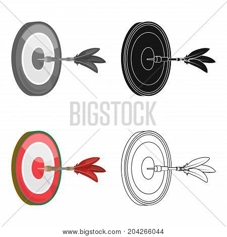 Dart and a target for darts. The game of darts single icon in cartoon style vector symbol stock illustration .