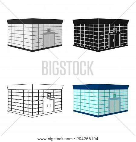 Office premises of the bank. Central bank single icon in cartoon style vector symbol stock illustration .