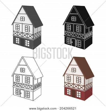 Stylized English cottage. Architectural cottage building single icon in cartoon style vector symbol stock illustration .