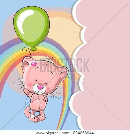 Greeting card Kitten fly on a balloon