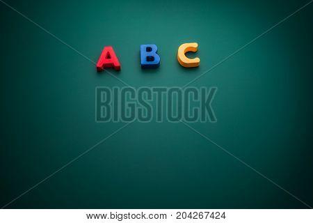 Creative concept with ABC alphabet text school theme
