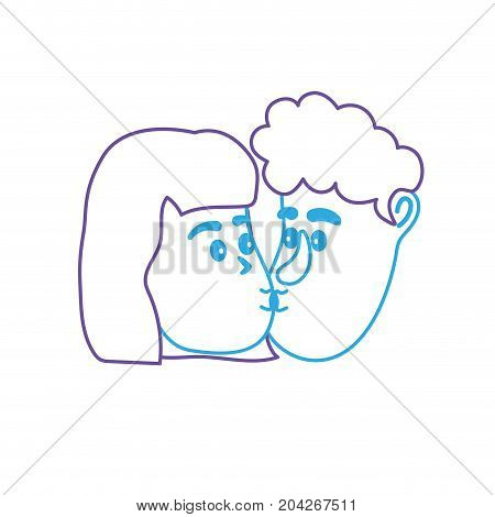 line avatar couple face kissing with hairstyle design vector illustration