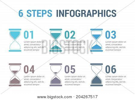 6 Steps infographics with hourglass, vector eps10 illustration