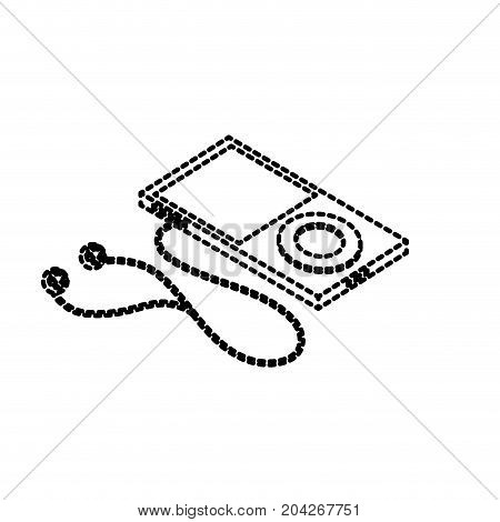 dotted shape technology mp3 with headphones to listen to music vector illustration