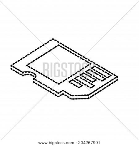 dotted shape micro sd technology to save documents vector illustration