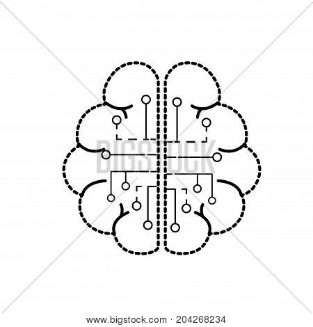 dotted shape anatomy brain with circuits digital connection vector illustration