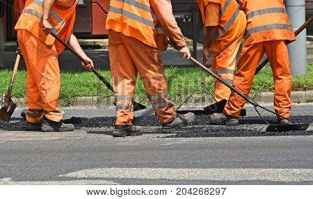Making new asphalt on the street in summer