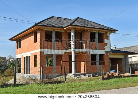 New house construction in the city in summer