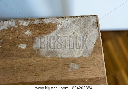 paint on wood chair furniture for construction workers close up