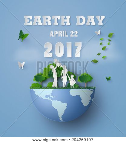 concept of eco and earth day with family.paper art and carft style.