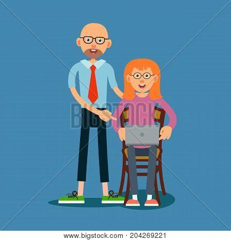 Guy advises girl how to work on laptop. The teacher corrects the error of the student. The girl and the teacher are happy with the solution of the task found. Illustration in flat style. Isolated