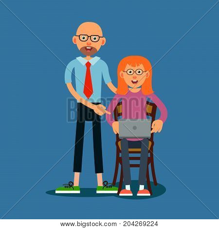 Guy advises girl how to work on laptop. The teacher corrects the error of the student. The girl and the teacher are happy with the solution of the task found. Illustration in flat style. Isolated. Vector.