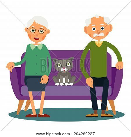 On the sofa sit elderly woman man and cat. Family portrait of elderly with animal. Married couple of pensioners at home on vacation with a pet. Illustration in flat style. Isolated. Vector.