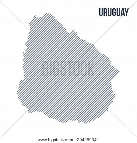 Vector Abstract Hatched Map Of Uruguay With Oblique Lines Isolated On A White Background.