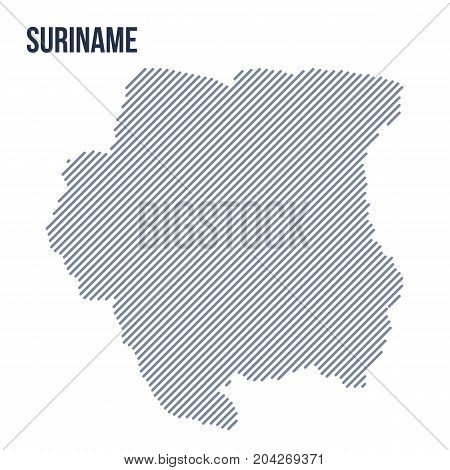 Vector Abstract Hatched Map Of Suriname With Oblique Lines Isolated On A White Background.