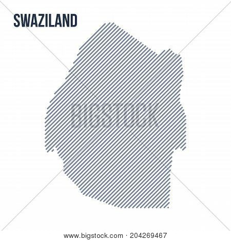 Vector Abstract Hatched Map Of Swaziland With Oblique Lines Isolated On A White Background.
