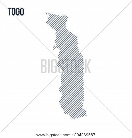 Vector Abstract Hatched Map Of Togo With Oblique Lines Isolated On A White Background.