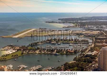 Aerial view of downtown St. Petersburg Florida. Landing at the airport in St. Petersburg