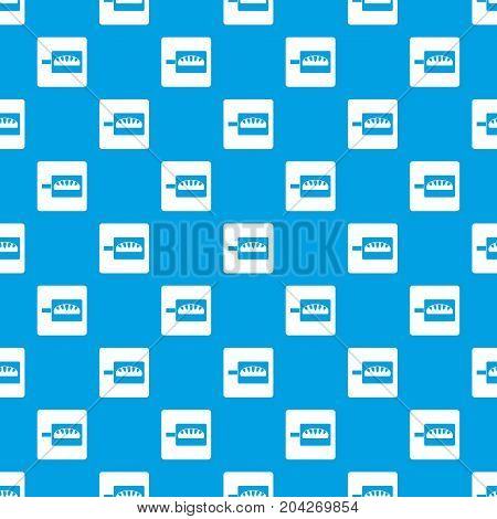 Bread baking pattern repeat seamless in blue color for any design. Vector geometric illustration