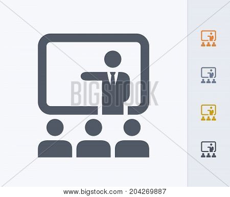 Businessman & Audience - Carbon Icons. A professional, pixel-perfect icon designed on a 32x32 pixel grid and redesigned on a 16x16 pixel grid for very small sizes