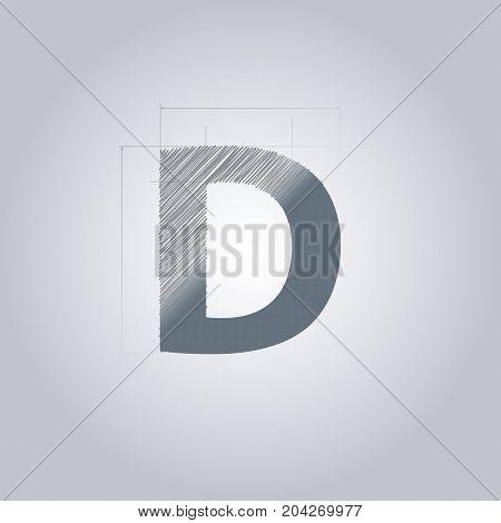 Letter D logo. Alphabet logotype architectural design. Grey color. Blueprint. With gradient.