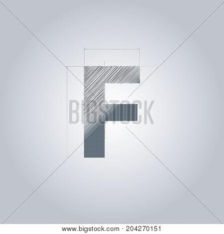Letter F logo. Alphabet logotype architectural design. Grey color. Blueprint. With gradient.