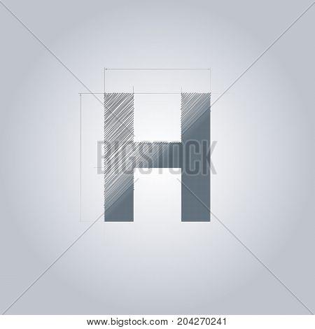 Letter H logo. Alphabet logotype architectural design. Grey color. Blueprint. With gradient.