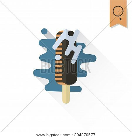 Chocolate ice cream on a stick Dessert Icon in Simple, Minimalistic and Modern Flat Design Style for Candy Shop. Retro Color. Long Shadow