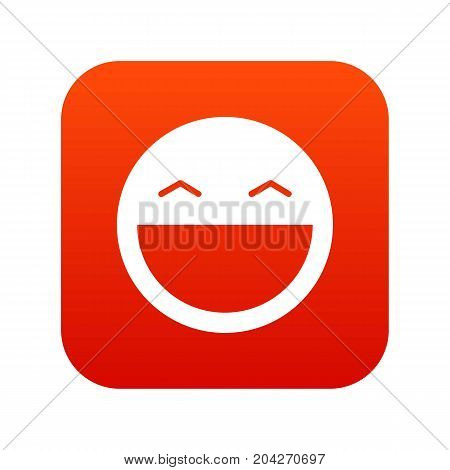 Laughing emoticon digital red for any design isolated on white vector illustration