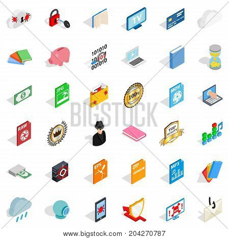 File icons set. Isometric style of 36 file vector icons for web isolated on white background